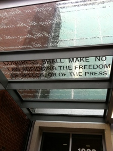 First Amendment reminder as students walk in for class each morning.