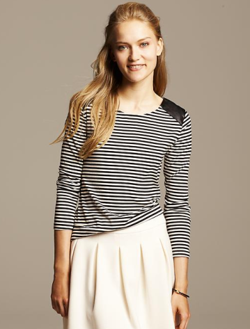 Banana Republic Faux-Leather Trim Striped Top
