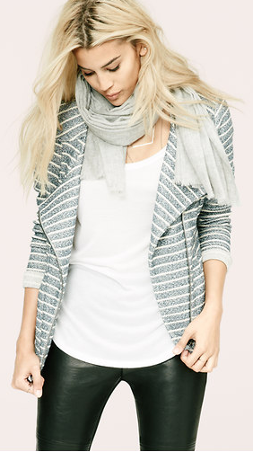 LOU & GREY SPECKLESTRIPE MOTO JACKET